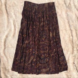 Vintage Purple Pleated Maxi Skirt
